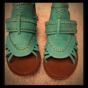 Women's matisse Turquoise leather Flat sandals